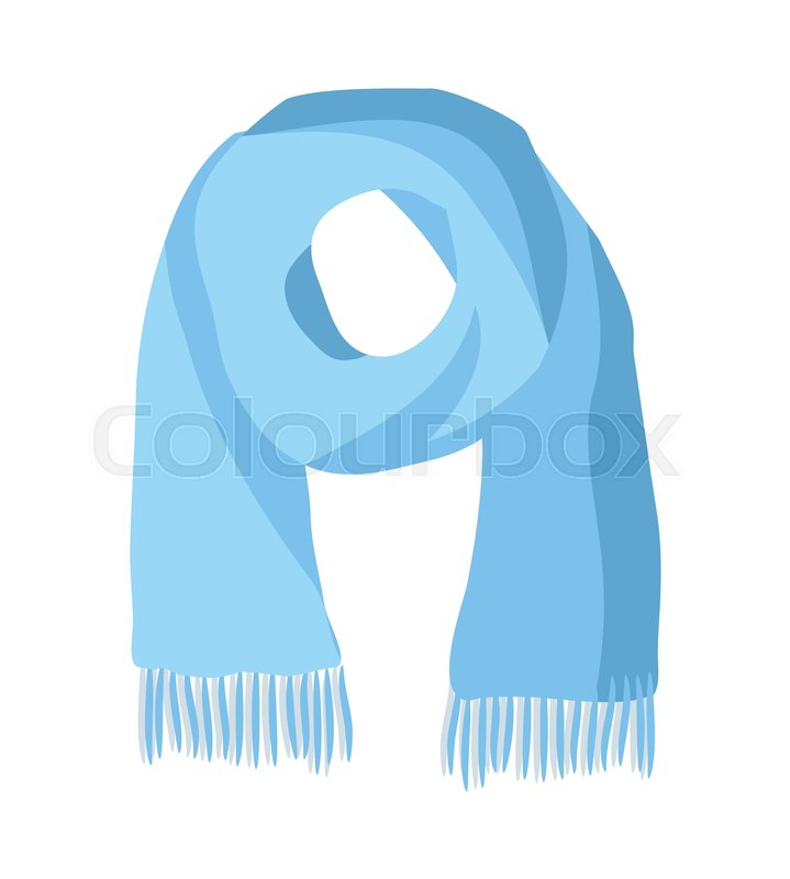 bbd8e73b9cc7b Knitted scarf isolated on white ... | Stock vector | Colourbox