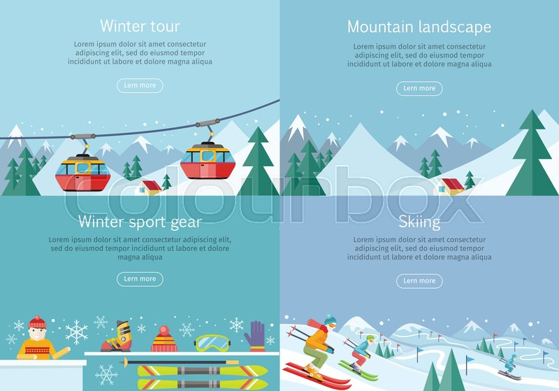Winter tour. Mountain landscape. Winter sport gear. Skiing banners set. Winter recreational conceptual web banners. Funicular railway, landscape, skiing equipment, skier competition. Ski lift. Vector, vector