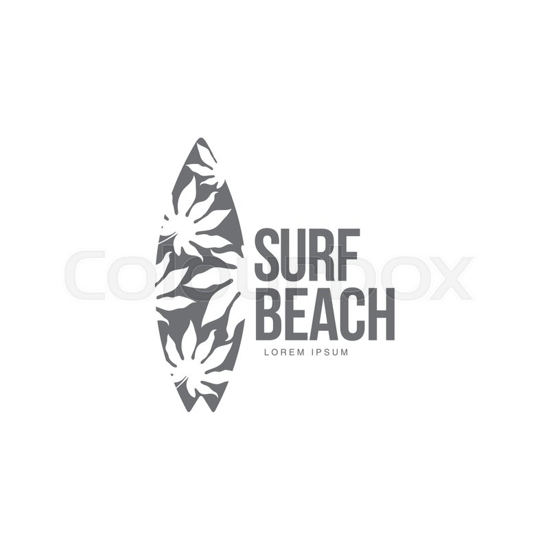 black and white graphic surfing logo template with palm tree pattern