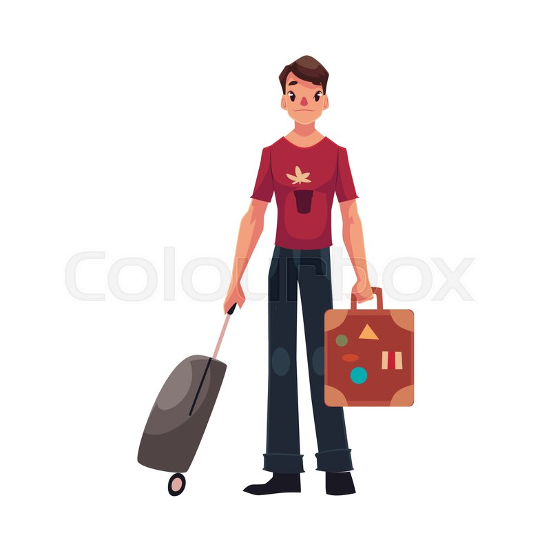 Young Man In Jeans And Tshirt Travelling With Two Suitcases Vector 24086522 on Vintage Vacation Home Plans