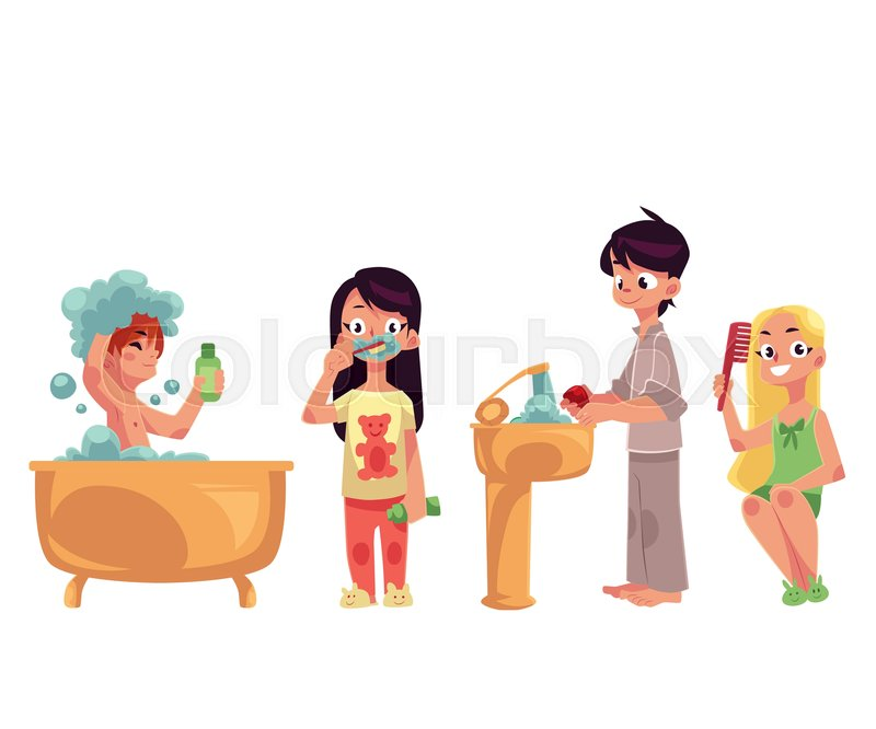 Kids Children Taking Bath Brushing Teeth Washing Hands
