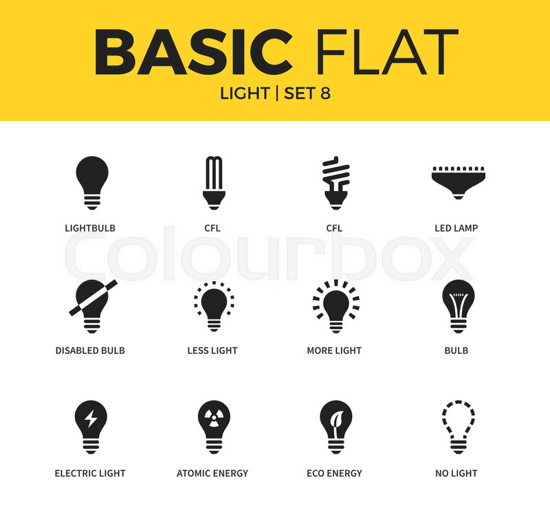 Basic set of lightbulb, atomic light and electric light icons ...