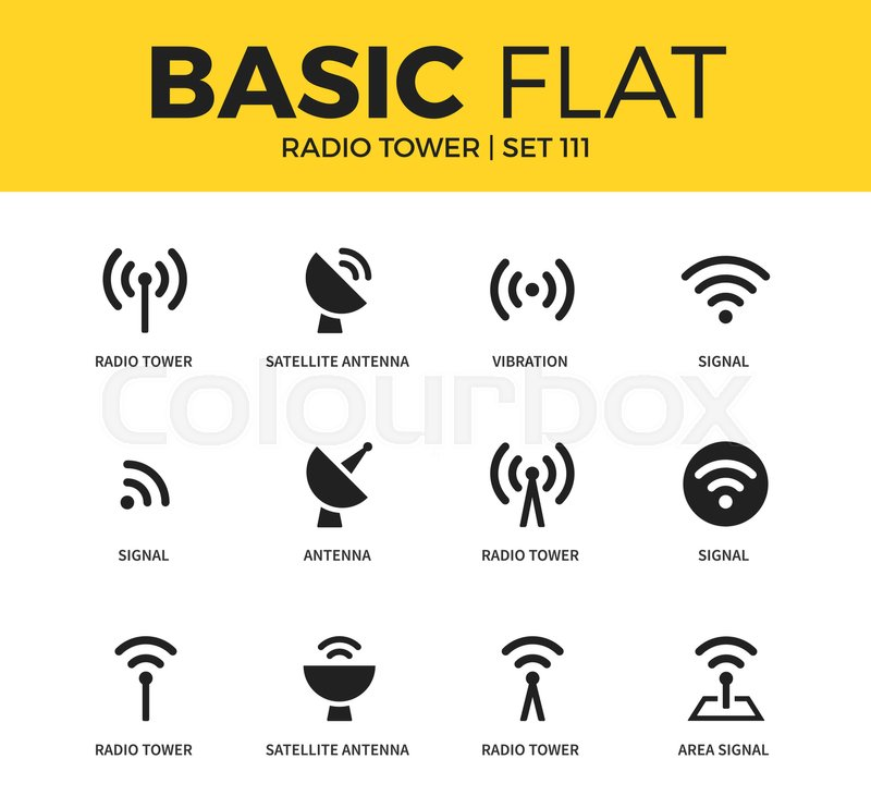 Basic set of satellite antenna, vibration and signal icons. Modern ...