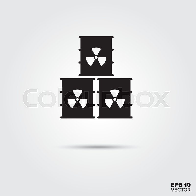 Nuclear Waste Barrels Stack Icon Radioactive Materials Symbol Eps