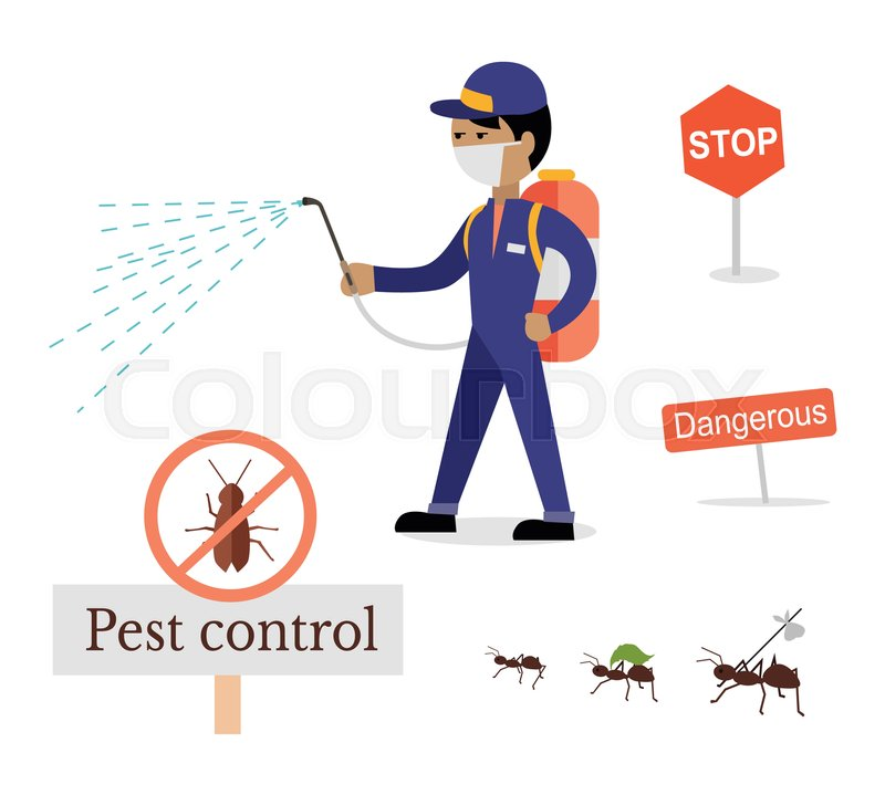 Pest Control In Boutte Mail: Set Of Pest Control Signs. Service Employee Pest Control