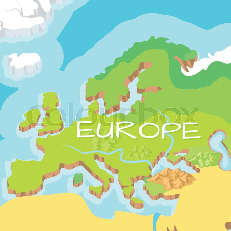 Europe mainland cartoon relief map with mountains climate zones europe mainland cartoon relief map with mountains climate zones rivers seas and island flat vector illustration topographic or physical atlas gumiabroncs Image collections