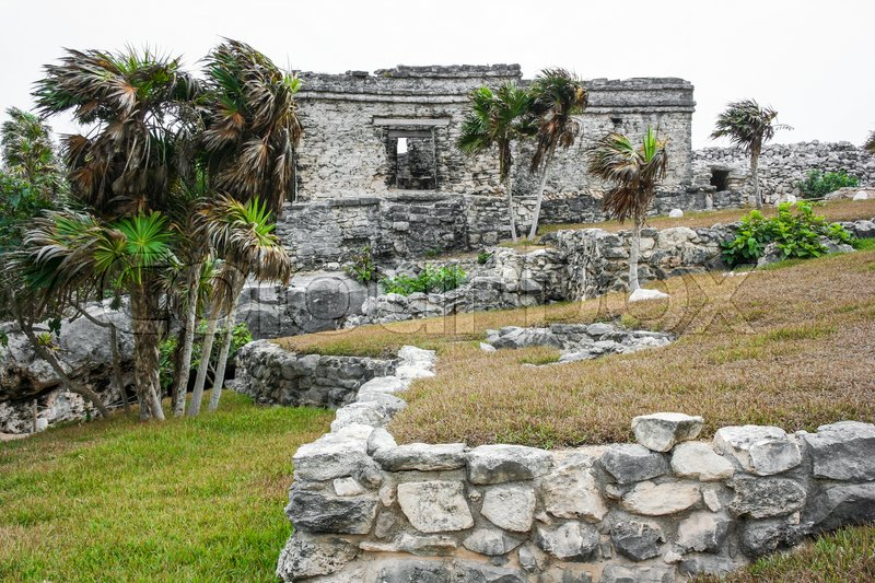 Ancient Mayan Architecture and Ruins located in Tulum, Mexico off the Yucatan Peninsula, stock photo