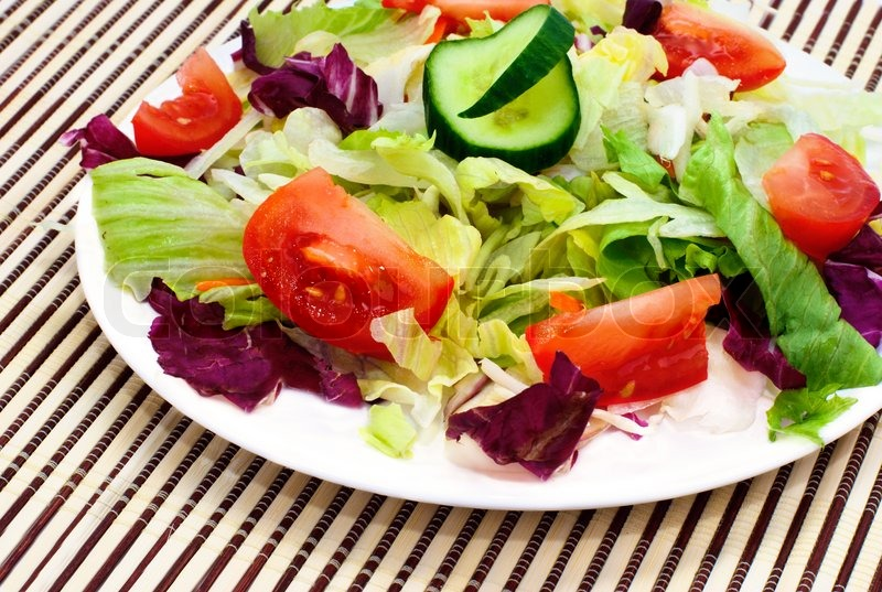 Fresh Vegetable Salad With Tomato Lettuce Cuber Stock Photo