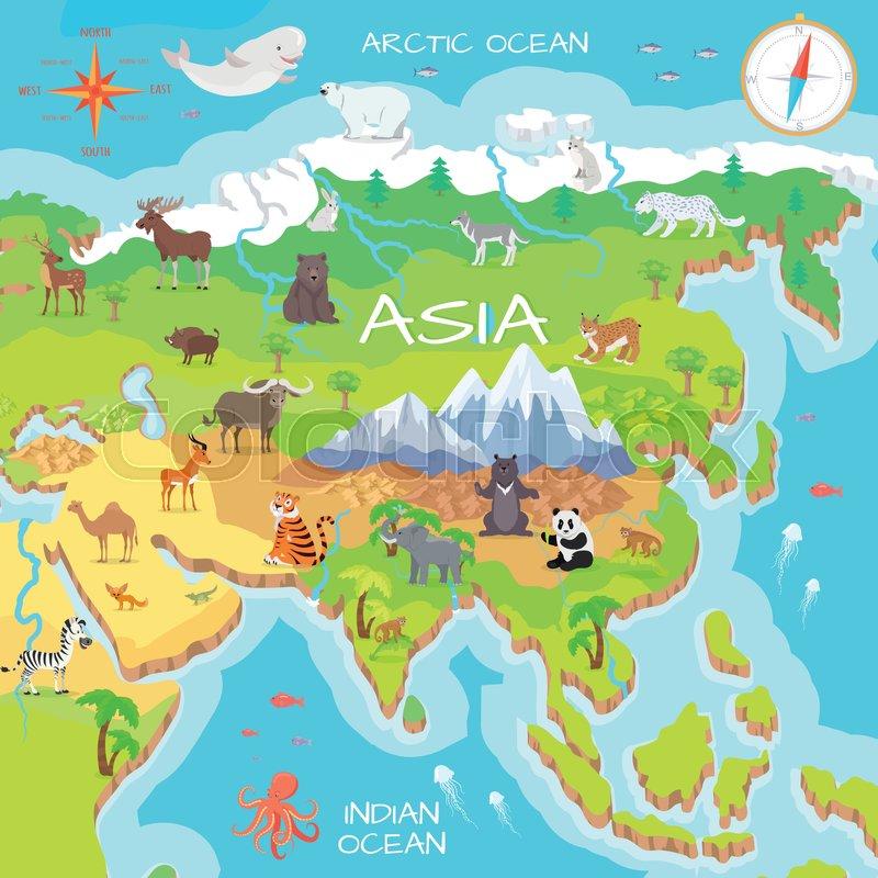 asia mainland cartoon map with fauna