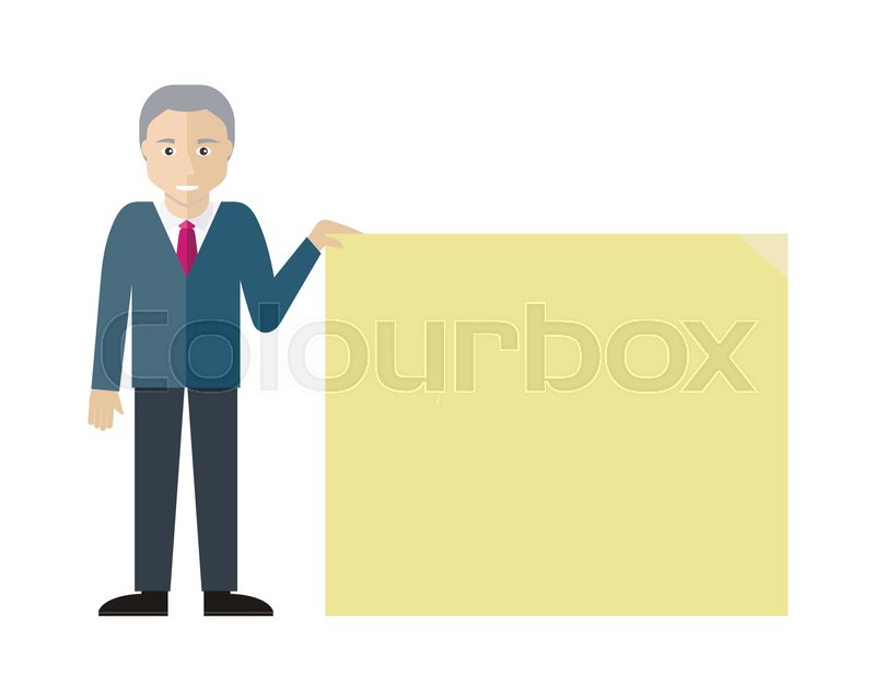 poster template with empty paper sheet. smiling old man with grey, Presentation templates
