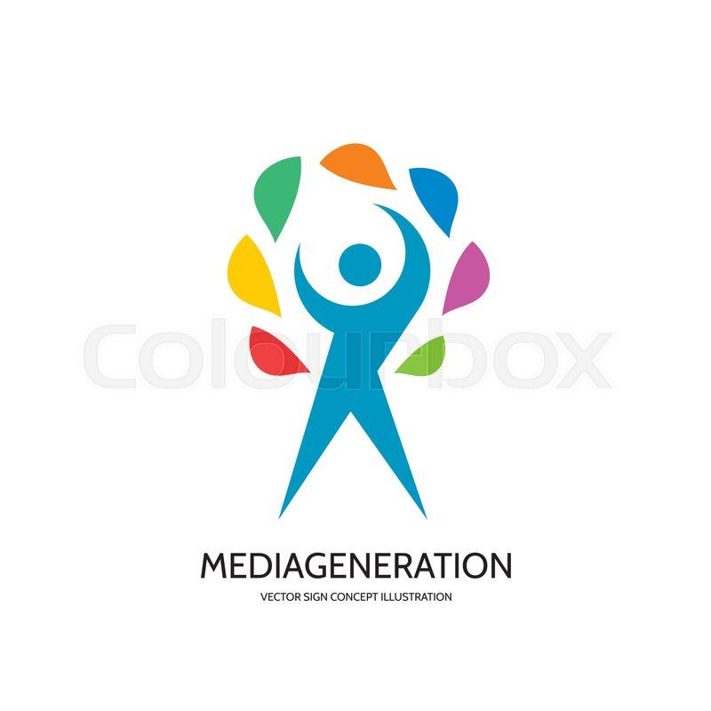 Media Generation Vector Logo Template Concept Illustration In Flat