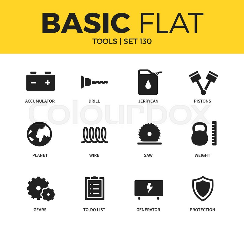 Basic Set Of Wire Gears And Generator Icons Modern Flat Pictogram