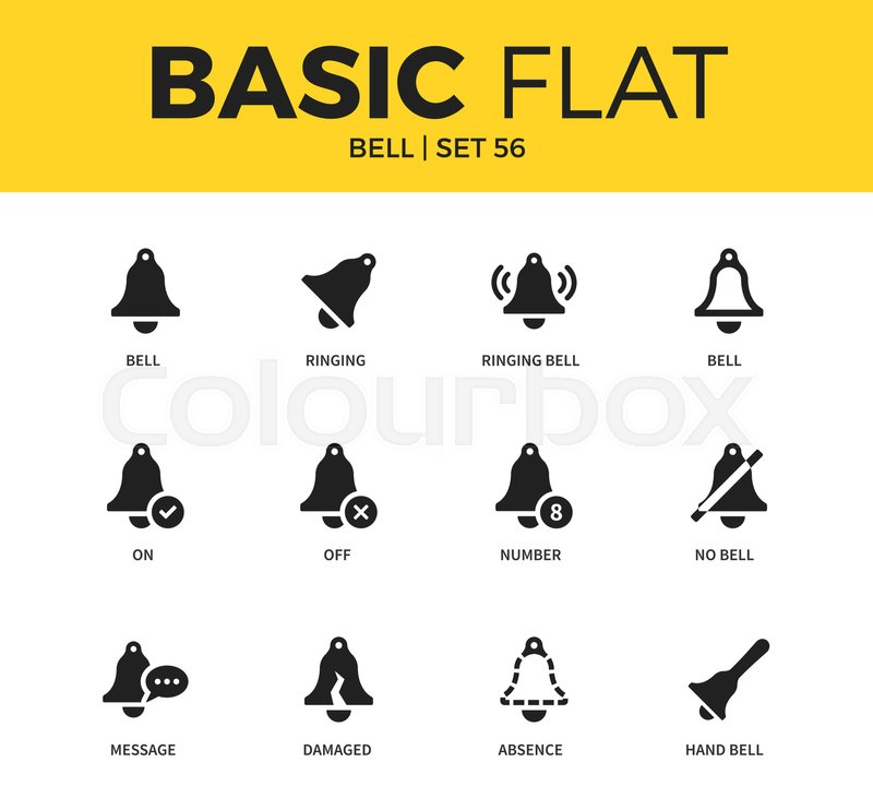 Basic Set Of Off Bell Form Ringing Bell Form And On Bell Form Icons