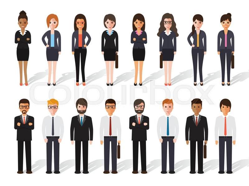 Set of working people standing on white background. businessman and businesswoman in flat design characters, vector