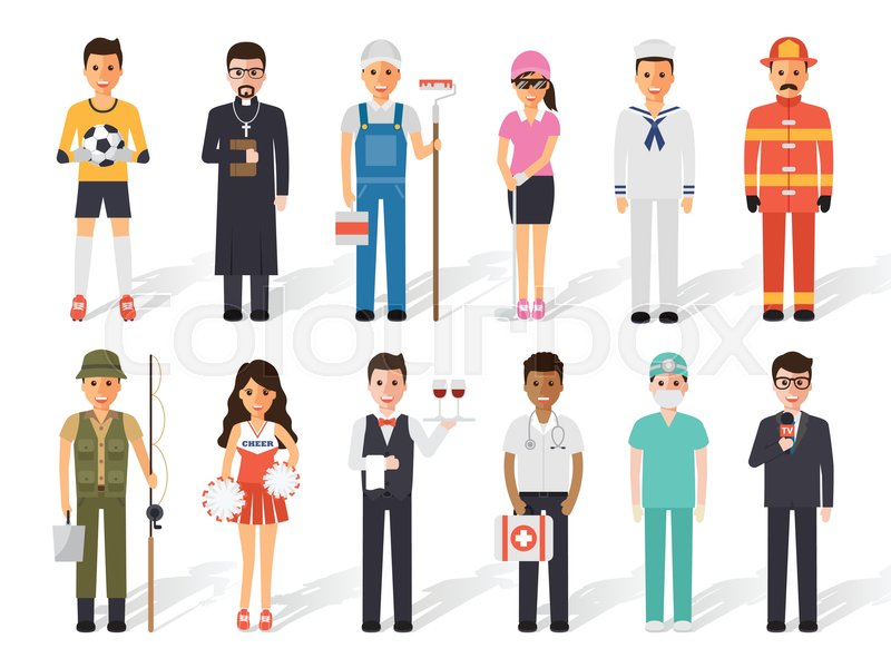 Set of diverse occupation profession people. Flat design people characters, vector