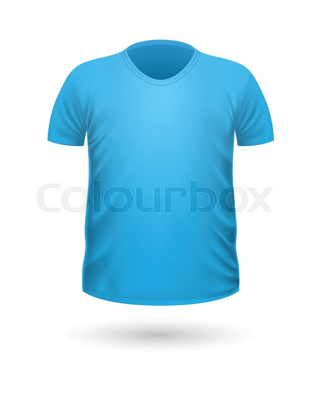 T-shirt template, front view. Blue color. Realistic vector ...