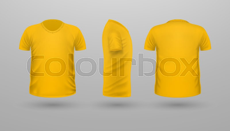 T Shirt Template Set Front Side Back View Yellow Color Realistic Vector Illustration In Flat Style Sport Clothing Casual Men Wear
