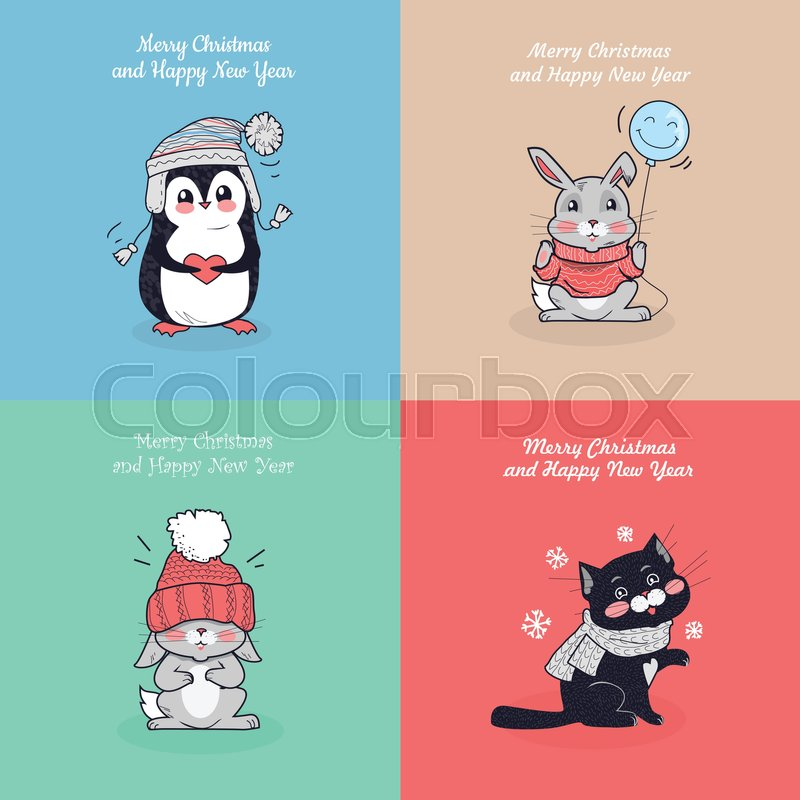 Merry christmas and happy new year posters set little rabbits in little rabbits in hat mouse in sweater funny cat penguins cartoon creatures wearing warm cloth winter season holidays greeting cards in flat style m4hsunfo