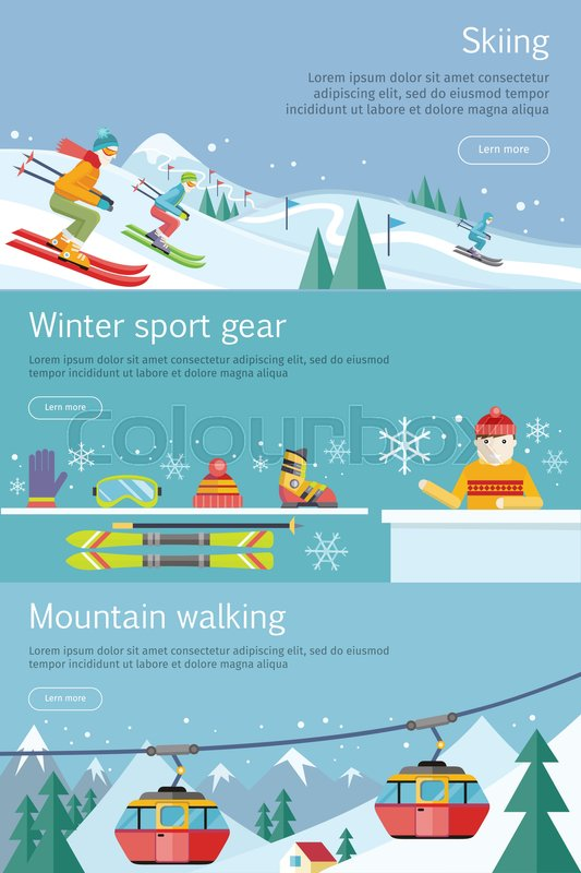 Skiing. Winter sport gear. Mountain walking banners set. Winter recreational conceptual web banners. Funicular railway, landscape, skiing equipment, skier competition. Ski lift. Vector illustration, vector