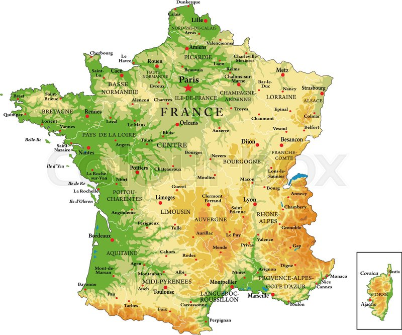 Highly detailed physical map of Francein vector formatwith all the
