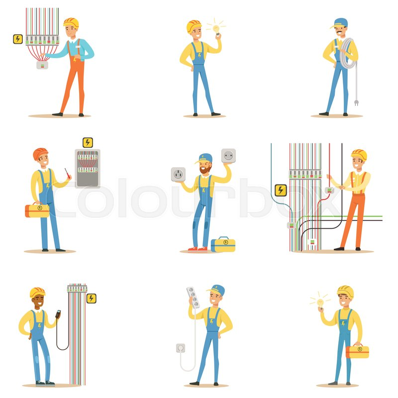 Electrician Specialist With Electric Wires At Work Doing Wireman ...