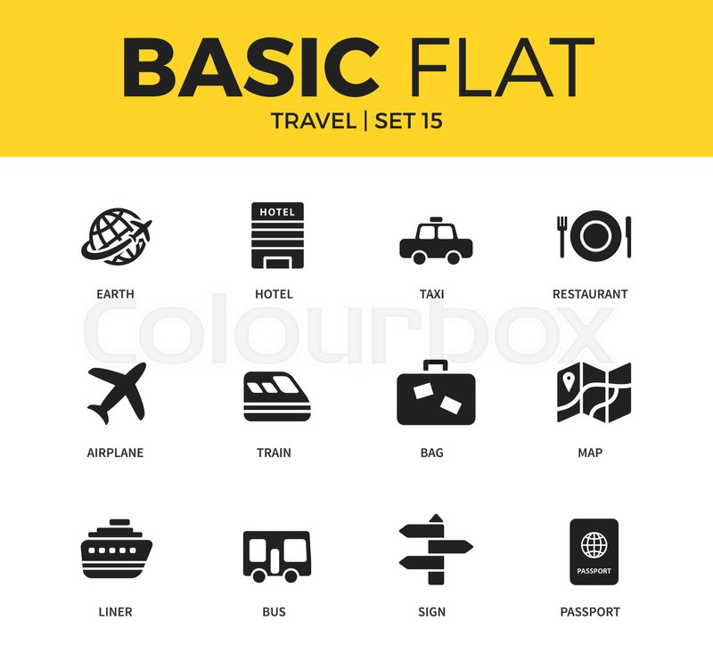 Basic Set Of Earth Hotel Bag And Map Icons Modern Flat Pictogram