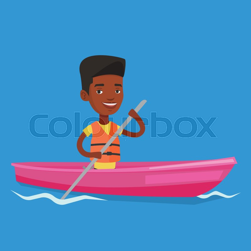 Young african-american man riding in a kayak in the river. Man with skull in hands traveling by kayak. Male kayaker paddling. Man paddling a canoe. Vector flat design illustration. Square layout, vector