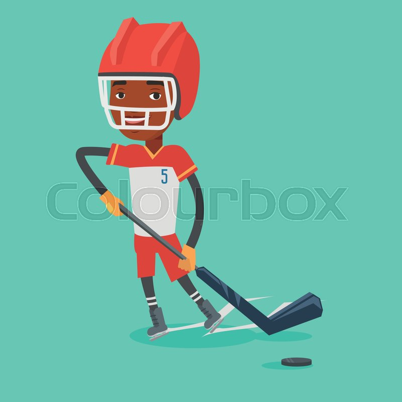 Young african-american sportsman playing ice hockey. Male ice hockey player in uniform skating on a rink. Male ice hockey player with a stick and puck. Vector flat design illustration. Square layout, vector