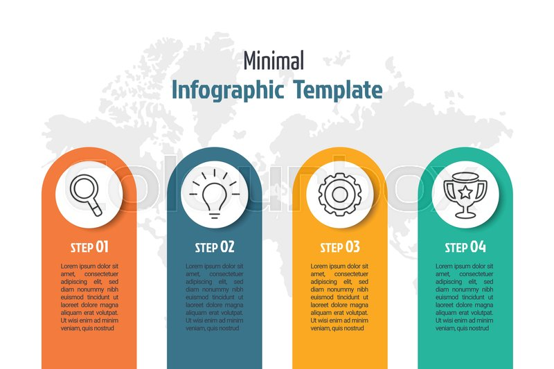business minimal infographic template 4 steps business process