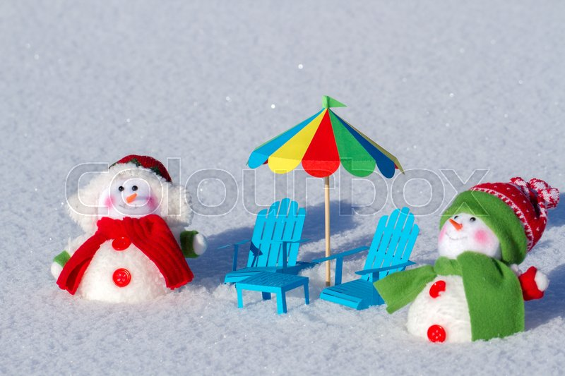 Stock Image Of U0027Two Cute Snowman Sunbathing In The Snow. Paper Beach Chairs  And