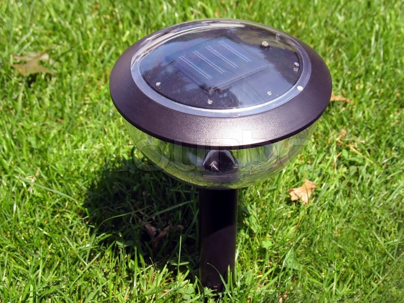 Stock image of 'A solar-powered garden lamp'