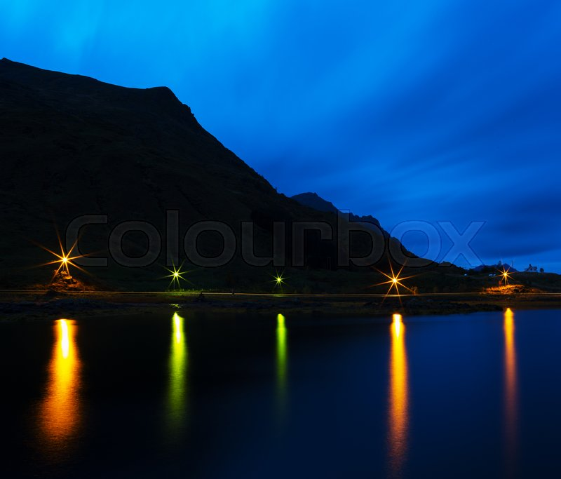 Horizontal Night Norway Road Water Reflections Background Backdrop