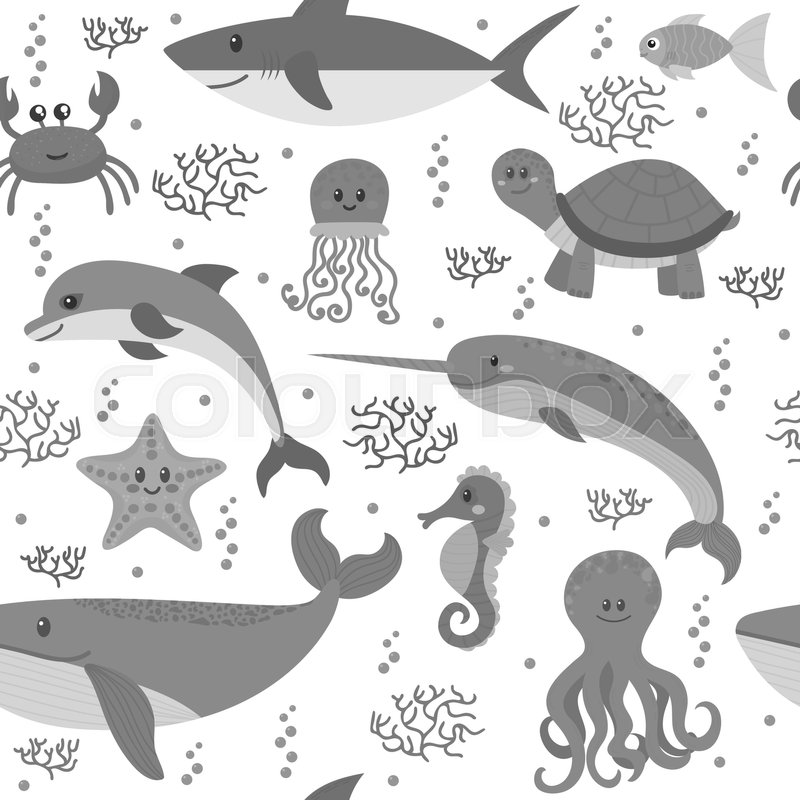 Seamless pattern with cartoon sea life animals. Underwater background. Sea theme. Vector illustration, vector