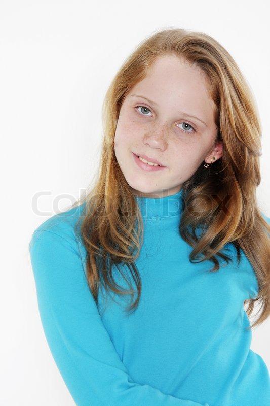 Cute Teen Girl Over White, Stock Photo