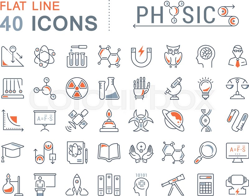 Set Vector Line Icons Sign And Symbols In Flat Design Physic With