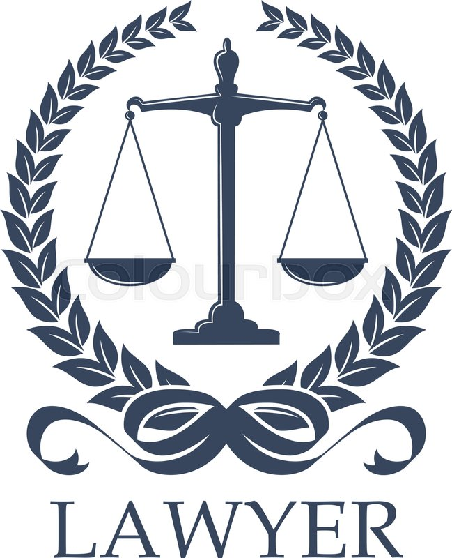 Lawyer Sign Of Scale In Laurel Wreath Weigher For Justice And