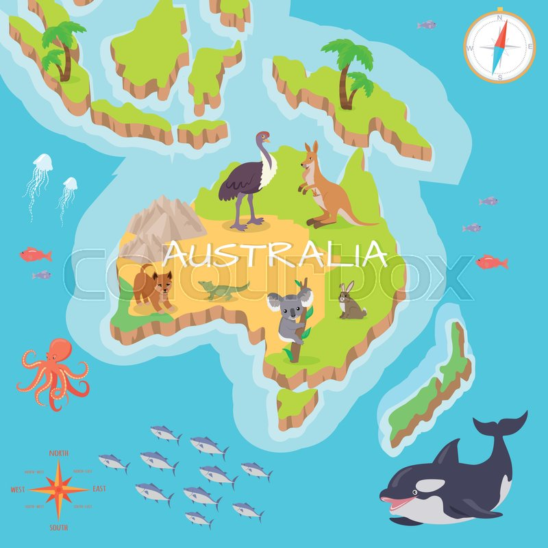Australia isometric map with flora and fauna. Cartography concept ...