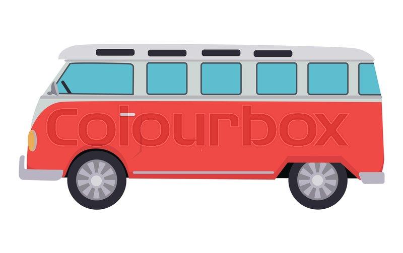 1111616611 Retro travel red van icon. Surfer van. ...
