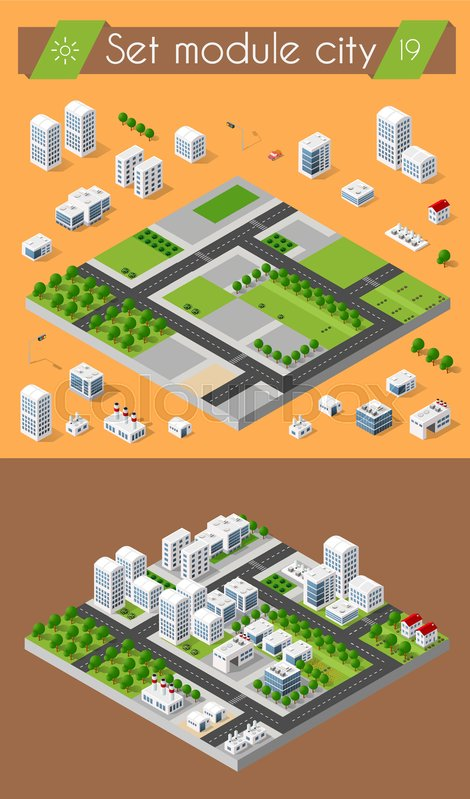 Cityscape Design Elements With Isometric Building City Map Generator 3D Flat Icon Set Isolated Collection For Creating Your Perfect Road Park
