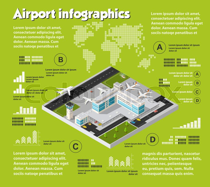 Isometric Airport Air Travel Infographic With Transport Terminal