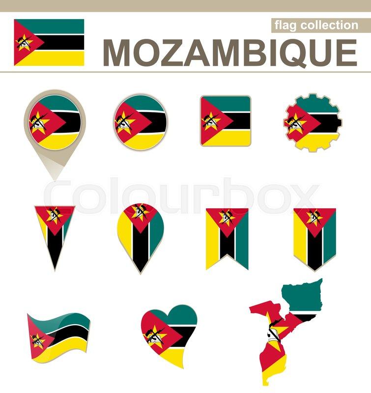 Mozambique Flag Collection, 12     | Stock vector | Colourbox