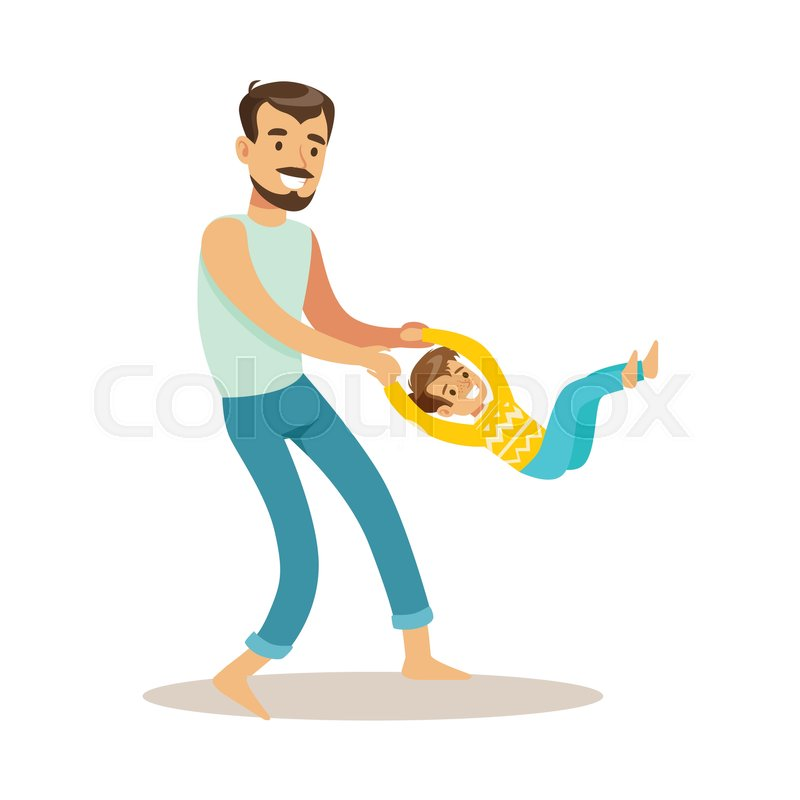 Dad Giving A Swing To His Son, Loving   Stock Vector -1441