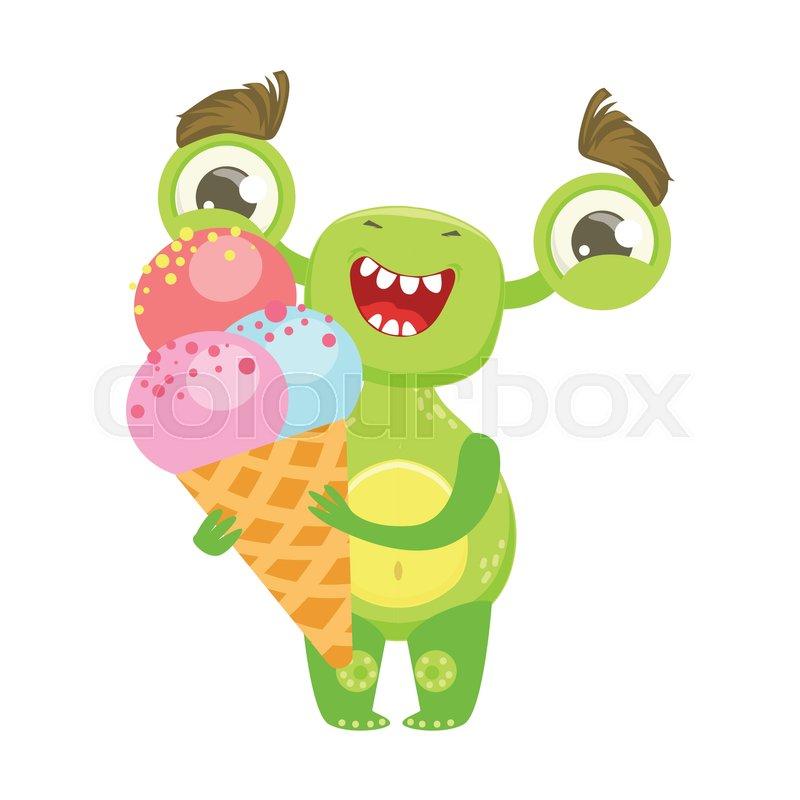 Smiling Funny Monster Holding Ice Cream In Cone Green Alien Emoji Cartoon Character Sticker Cute Fantastic Creature Emoticon Flat Vector Illustration
