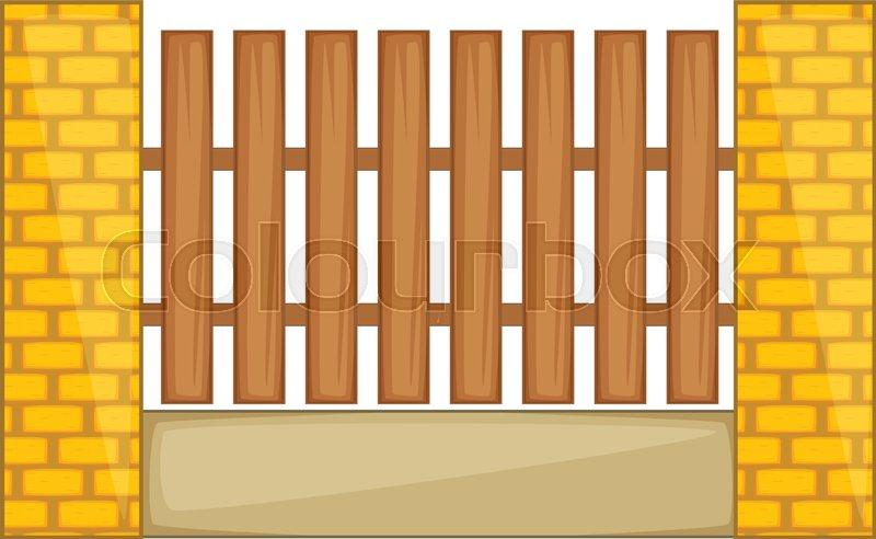 Wooden fence with brick pillars icon cartoon illustration