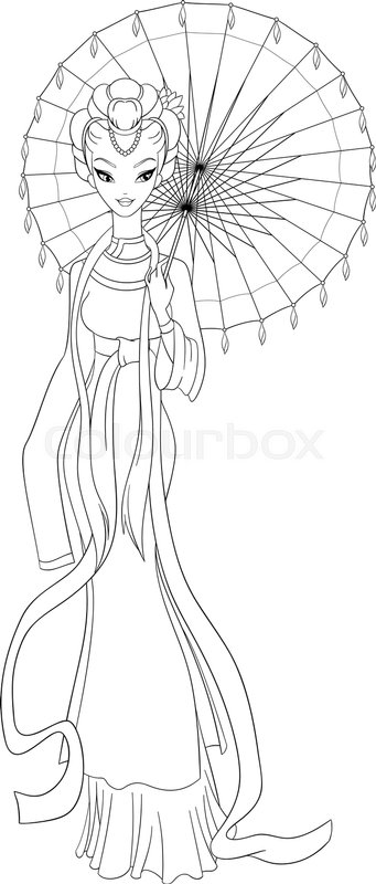 Cute Outlined Chinese Lady In Traditional Dress Holding Umbrella Vector Illustrations Coloring Page