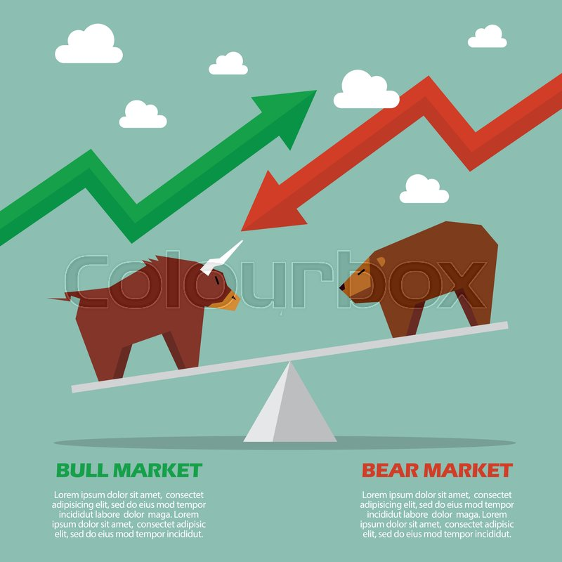 Bull And Bear On Balance Scale Infographic Symbol Of Stock Market