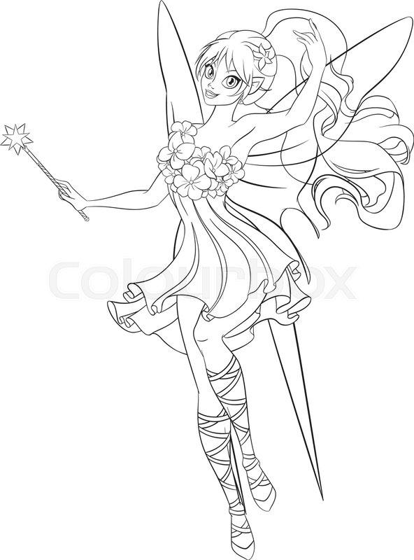Volwassen Kleurplaten Voor Meisje Beautiful Flying Fairy With Magic Stock Vector