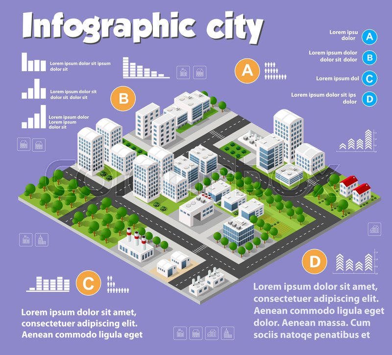Green Start Web Page Site Map: Isometric City Map Industry Infographic Set, With Transport, Architecture, Graphic Design