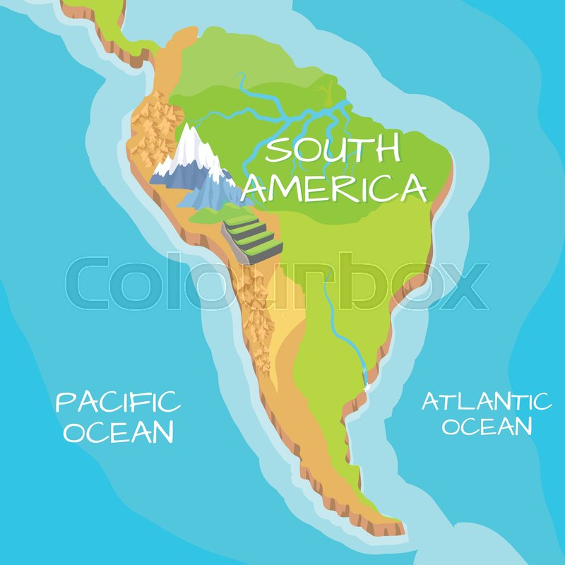 South America Isometric Map With Natural Attractions Cartography