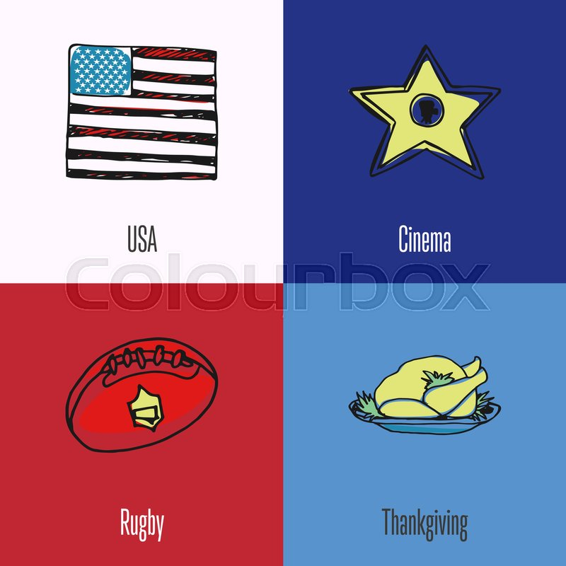 USA Flag Cinema Star Rugby Ball Thanksgiving Turkey Colored Hand Drawn Doodles Vector Icons With Caption On Backgrounds Country Concept For